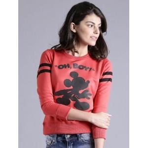 Kook N Keech Coral Red Knitted Printed Sweatshirt
