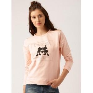 Disney by Dressberry Pink Cotton Printed Cold-Shoulder Sweatshirt