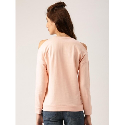 Disney by Dressberry Pink Cotton Printed Cold-Shoulder Sweatshirt