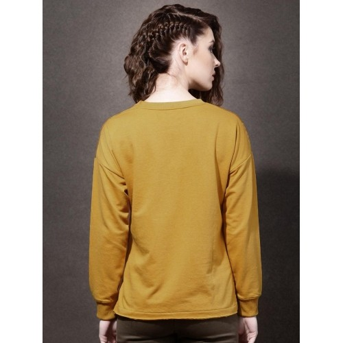 Roadster Mustard Yellow Printed Highlow Sweatshirt