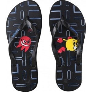 Crazeis Black Printed Rubber Men's Flip Flops