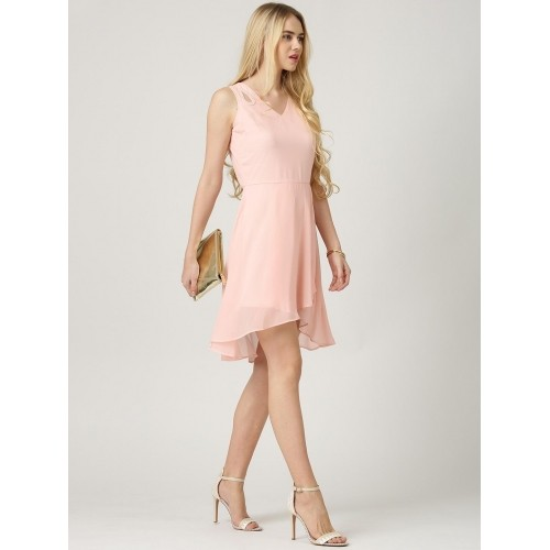 Marie Claire Pink Georgette Solid Fit & Flare Dress
