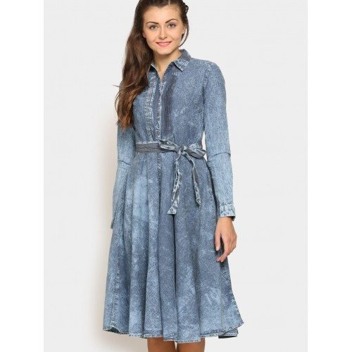 Tokyo Talkies Blue Cotton Long Sleeves Fit & Flare Dress