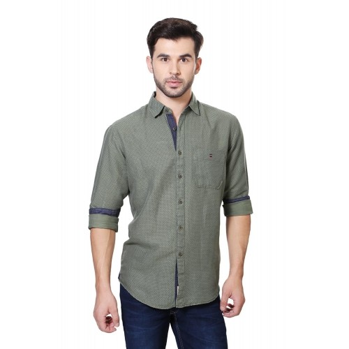 a49137916ec Buy Louis Philippe Olive Green Linen   Cotton Casual Shirt online ...