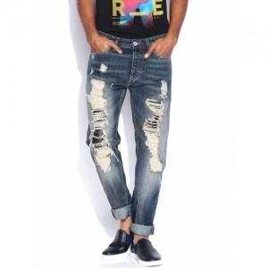 Jack & Jones Navy Blue Ripped Erik Anti Fit Jeans