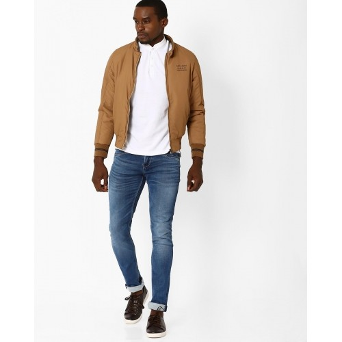 Fort Collins Beige Solid Bomber Jacket with Panelled Sleeves