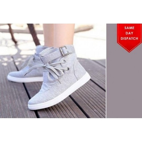 Street Style Store Grey Solid Sneakers