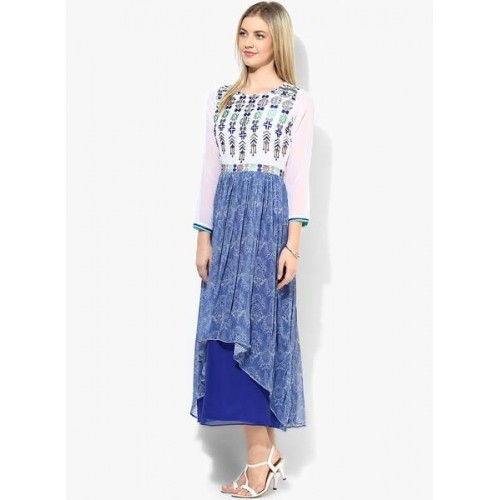 Eternal Blue Colored Embroidered Flared Kurti