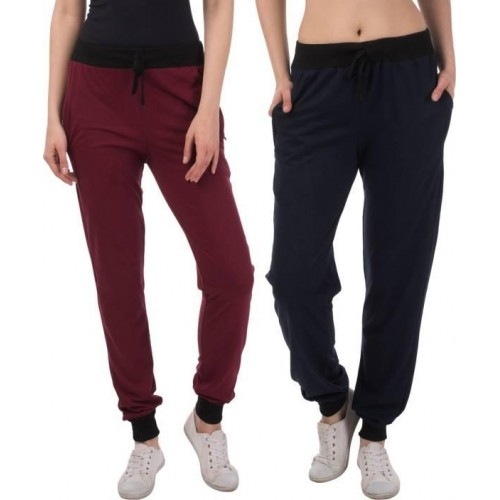 Dee Mannequin Maroon & Navy Blue Solid Track Pant