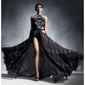 The Secret Label Black Georgette Printed Gown