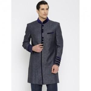 Raymond Ethnix Navy Blue Linen Printed Sherwani