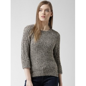 ALCOTT Off-White & Coffee Brown Acrylic Patterned Sweater