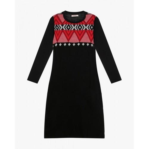 Ajio Black Printed Woollen Straight Kurta