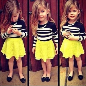 Forever Kidz Black & Yellow Sunflower Jazz Dress