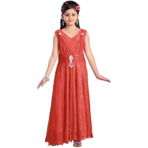 a9b711e4d Buy Aarika Red Solid V Neck Sleeveless Dress For Girl online ...