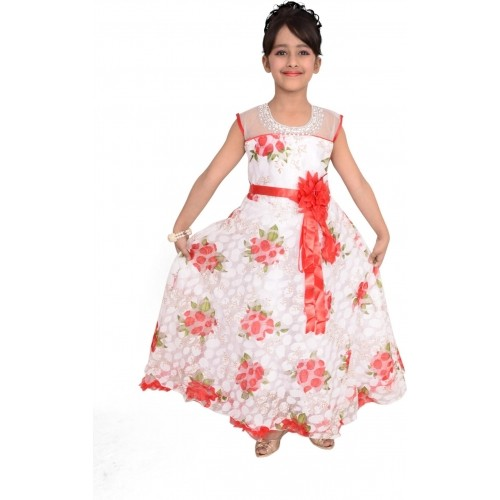 Arshia Fashions White & Red Printed Gown Dress