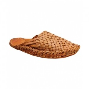 Pahnawa Tan Synthetic Leather Slip On Mojari