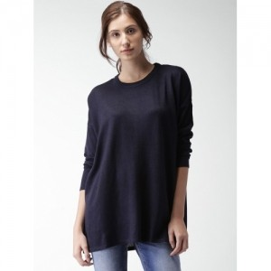 Mast & Harbour Navy Blue Solid Oversized Women's Sweater