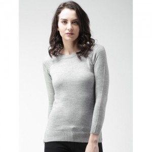 Mast & Harbour Grey Long Sleeve Solid Women's Sweater