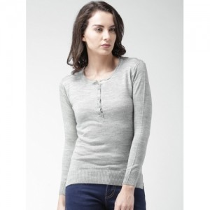 Mast & Harbour Grey Melange Acrylic Solid Sweater