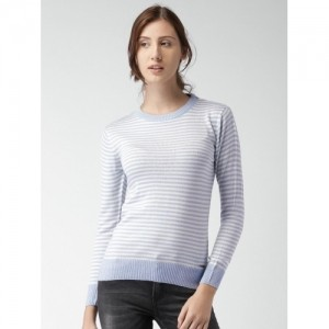 Mast & Harbour Light Blue & Off-White Striped Sweater