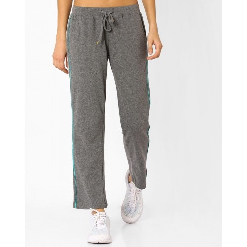 Ajio Gray Cotton Track Pants with Elasticated Waistband