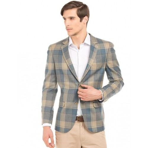 Buy ARROW Teal & Light Brown Checkered Casual Blazer online ...