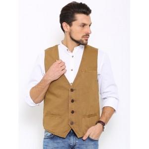 Indian Terrain Brown Cotton Waistcoat