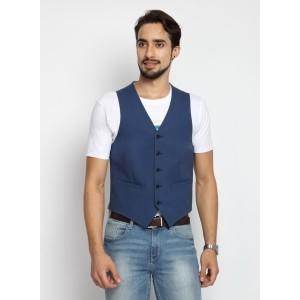 Suitltd Men's Blue Solid Cotton Blend Waistcoat