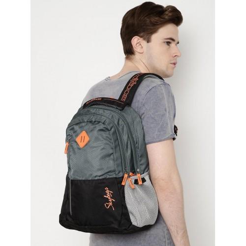 Skybags Unisex Black & Grey Printed Backpack
