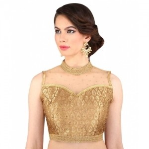 Melluha Gold Net Round Shape With Dori Blouse