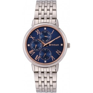 Titan 2569SM01 Blue & Silver Stainless Steel Analog Watch