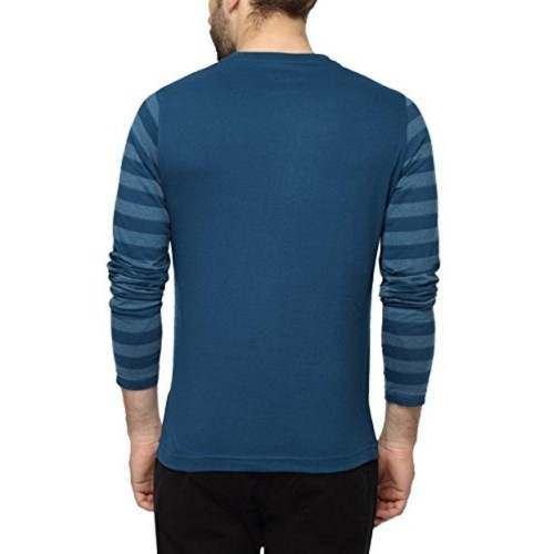 PepperClub Men's Blue Cotton Tshirt With Striped Sleeves