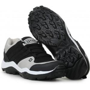GRANITE Black & Gray Mesh Lace Up Running Shoes