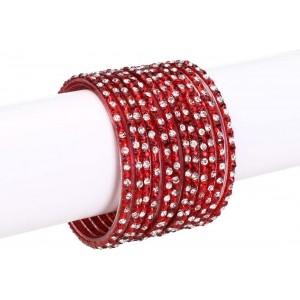 Somil Glass Red Metal Enamel Bangle Set
