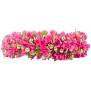 Kabello Pink Floral Wedding Gajra Hair Band