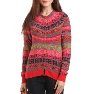 RAGE Red Acrylic Wool Printed Cardigan