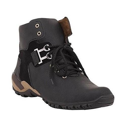 Vogue Black Artificial Leather Lace Up Boots