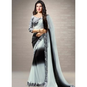 Shaily Black & Grey Jacquard Ombre Saree