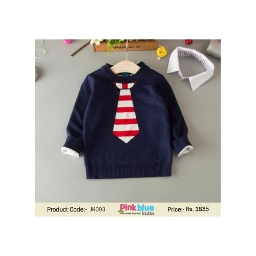 Navy Blue Solid Pullover For Boy