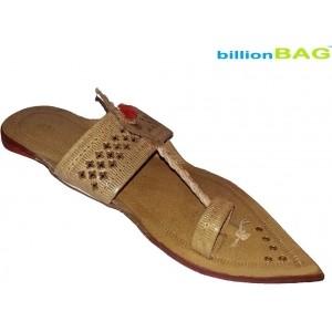 BillionBAG  Beige Mesh Slip-On Ethnic Foot Wear