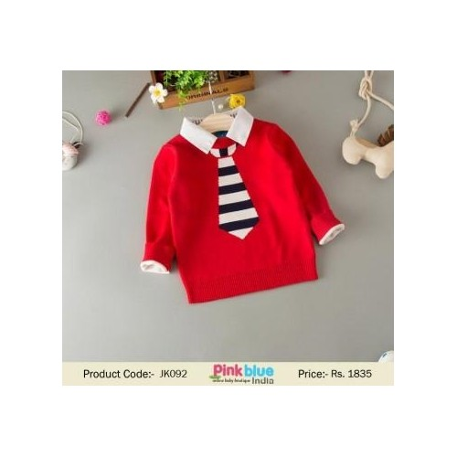 Red Solid Formal Pullover For Boy