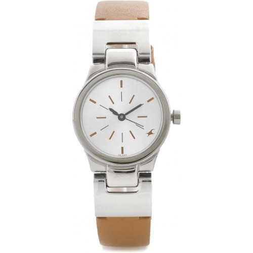 Fastrack NG6114SL01 White & Brown Analog Watch For Women