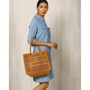 INDIE PICKS Brown Felt Cutwork Beach Tote Bag