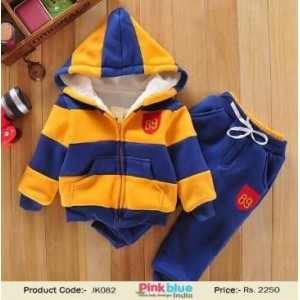 Yellow & Navy Blue Striped Printed Hooded Sweatshirt & Pant