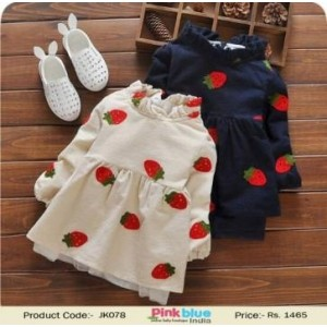 Off White & Navy Blue Strawberry Printed Jackets For Girls