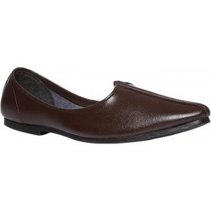 Bata Brown Synthetic Leather Slip-On Mojari