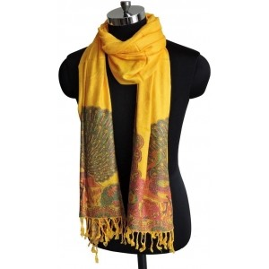 Weavers Villa Yellow Printed Woven Viscose Women's Stole