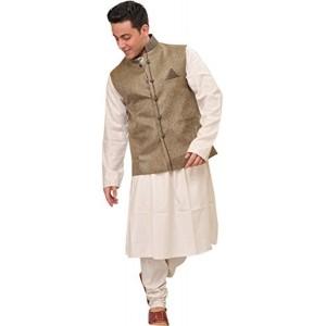 Exotic India White Poly Jute Kurta Pyjama Set with Waistcoat