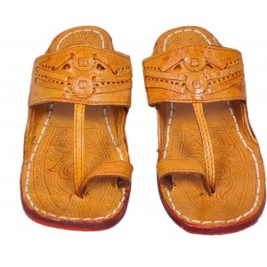 Jaipuriyaa Tan Lerather Ethnic Chappals For Men